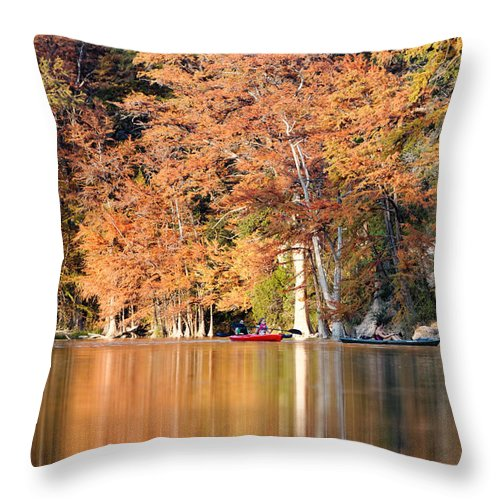 Frio River Throw Pillow featuring the photograph Reflections On The Frio River IIi by Silvio Ligutti