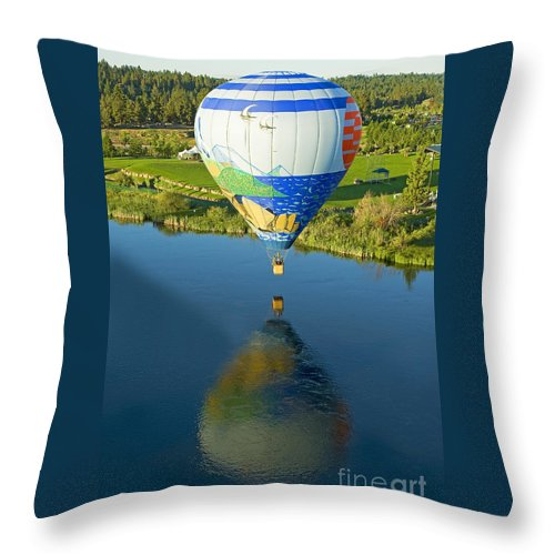 Pacific Throw Pillow featuring the photograph Reflections Over The Dechutes by Nick Boren