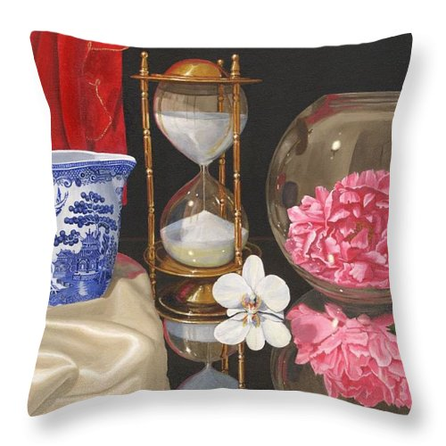 Still Life Throw Pillow featuring the painting Reflections by Richard Harpum