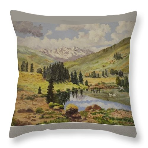 Landscape Throw Pillow featuring the painting Reflections by Wanda Dansereau