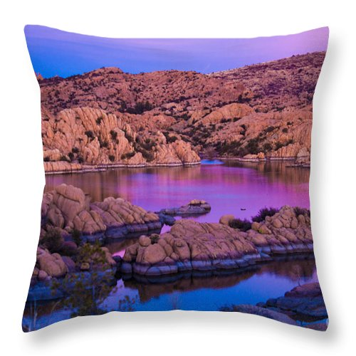 Landscape Throw Pillow featuring the photograph Reflective Good Morning by Phyllis Bradd