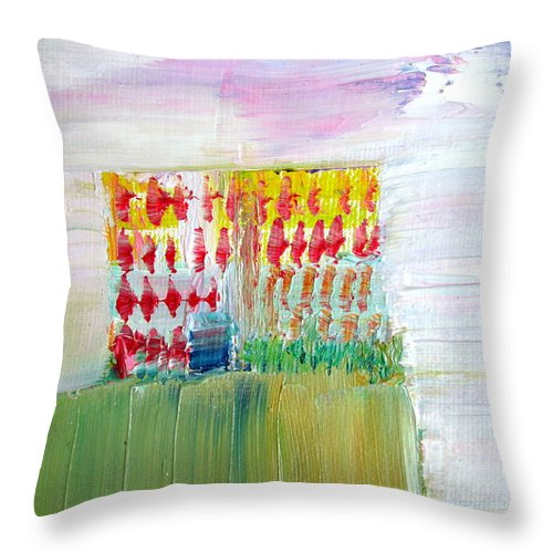 Refuge Throw Pillow featuring the painting Refuge On The Cliff by Fabrizio Cassetta