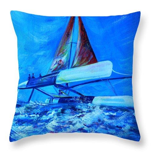 Regatta Throw Pillow featuring the painting Regatta.triptych. Part Three by Anna Duyunova
