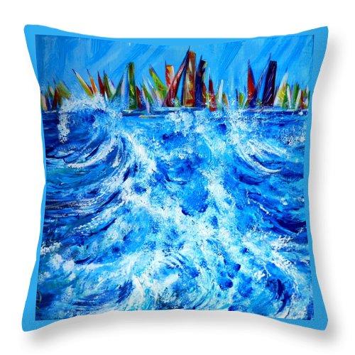 Regatta Throw Pillow featuring the painting Regatta.triptych. Part Two by Anna Duyunova
