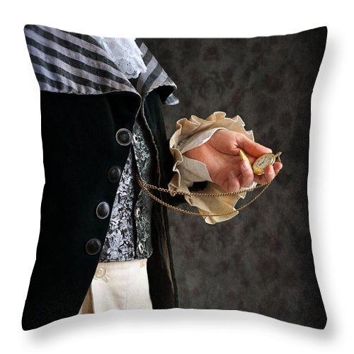 Regency Throw Pillow featuring the photograph Regency Man With A Pocket Watch by Lee Avison