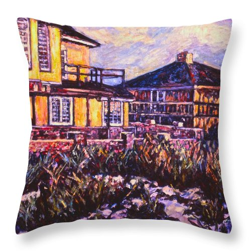 Landscape Throw Pillow featuring the painting Rehoboth Beach Houses by Kendall Kessler