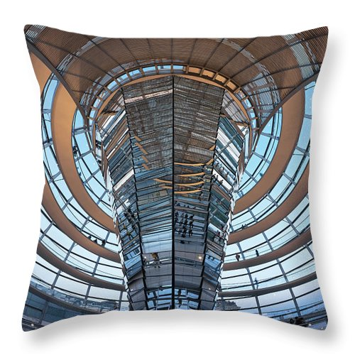 Norman Foster Throw Pillow featuring the photograph Reichstag, Dome At Dusk by Siegfried Layda