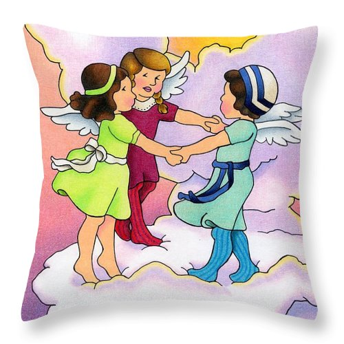 Angels Throw Pillow featuring the drawing Rejoice by Sarah Batalka