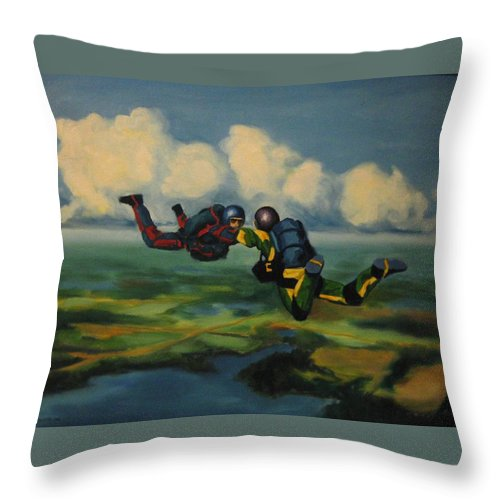 Skydivers Throw Pillow featuring the painting Relative Work by John Malone