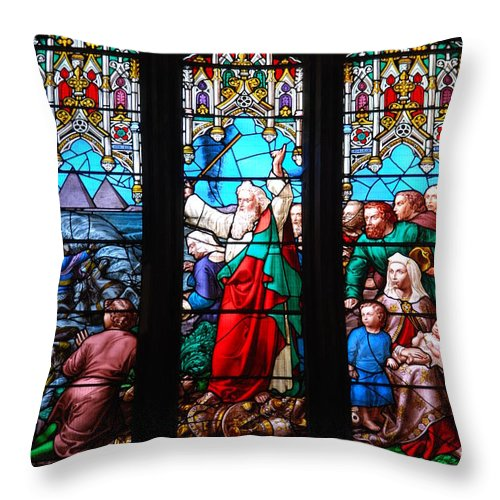 Church Throw Pillow featuring the photograph Religious Stained Glass Windows by Luis Alvarenga