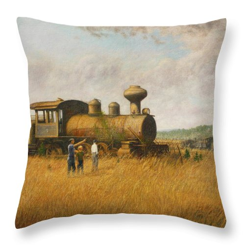 Trains Memory Memories Remember Remembering Glory Glorious Railroad Clouds Sky Light Landscape Grass Locomotive Throw Pillow featuring the painting Remembering The Glory by Earl Mott