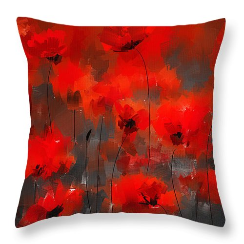 Poppies Throw Pillow featuring the painting Remembrance by Lourry Legarde