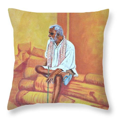 Usha Throw Pillow featuring the painting Reminiscing by Usha Shantharam