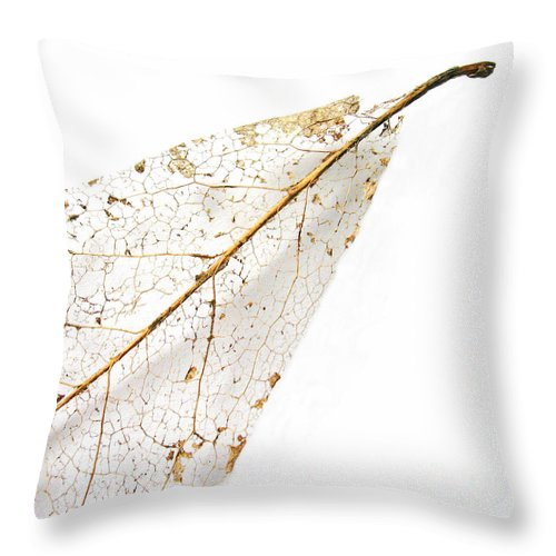 Leaf Throw Pillow featuring the photograph Remnant Leaf by Ann Horn