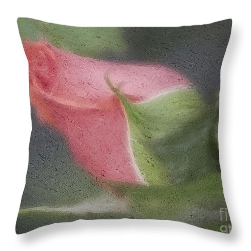 Rose Throw Pillow featuring the photograph Rendition Of A Rose by Deborah Benoit
