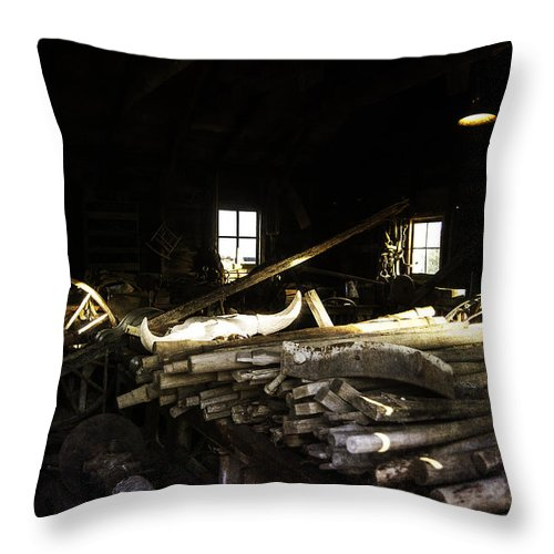 Vintage Throw Pillow featuring the photograph Repair Shop by Judy Hall-Folde