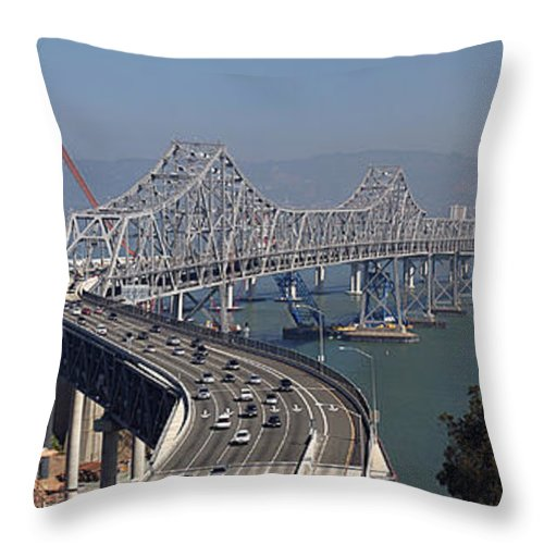 Eastern Throw Pillow featuring the photograph Replacement Of The Easter Span San Francisco Oakland Bay Bridge From Yerba Buena Island Oct 9th 2011 by California Views Archives Mr Pat Hathaway Archives