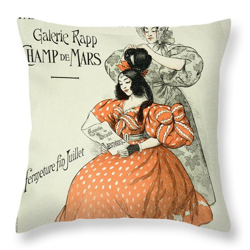 Advert Throw Pillow featuring the drawing Reproduction Of A Poster Advertising by Roedel