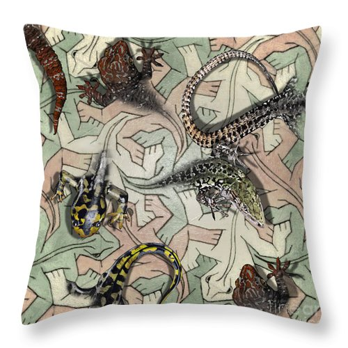 Lizards Throw Pillow featuring the painting Reptiles - Inspired By Escher - Elena Yakubovich by Elena Yakubovich