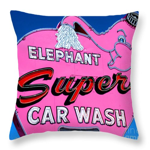 Elephant Throw Pillow featuring the photograph Elephant Super Car Wash Sign Seattle Washington by Tap On Photo