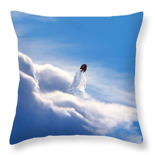 Rest Throw Pillow featuring the mixed media Resting Angel 2 by Kume Bryant