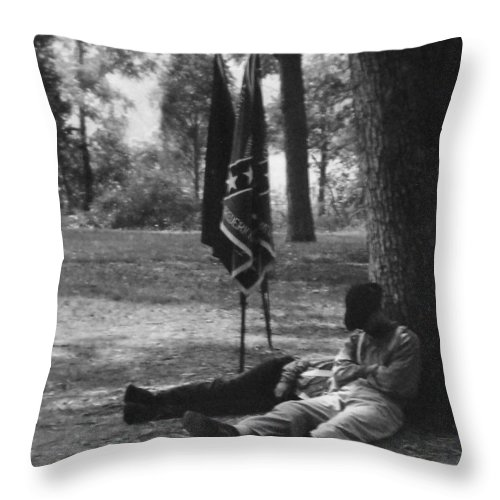 Black And White Throw Pillow featuring the photograph Resting At Gettysburg by Eric Liller