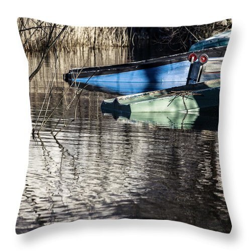 Boats Throw Pillow featuring the photograph Resting Boats by Alfio Finocchiaro
