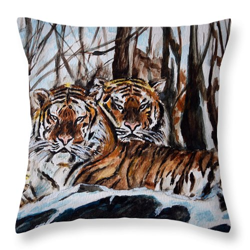 Tiger Throw Pillow featuring the painting Resting by Harsh Malik