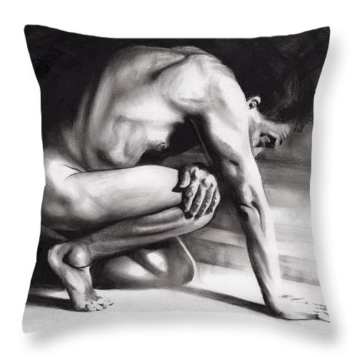 Figurative Throw Pillow featuring the drawing Resting Il by Paul Davenport