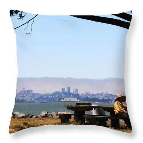 Emeryville Throw Pillow featuring the photograph Resting On The Emeryville Penninsula by Robert Woodward