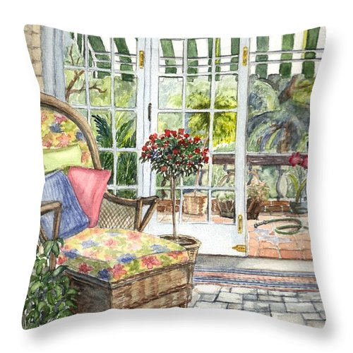 Scenery Throw Pillow featuring the painting Resting On The Lanai Part 1 by Carol Wisniewski