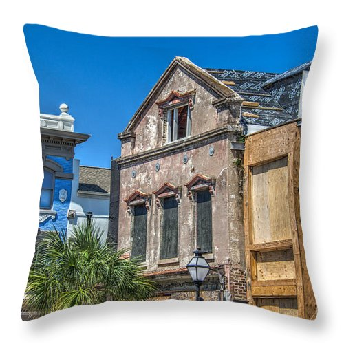 King Street Throw Pillow featuring the photograph Restoration Work On King Street by Dale Powell
