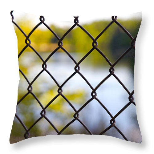 Chainlink Fence Throw Pillow featuring the photograph Restricted Access by Michelle Joseph-Long