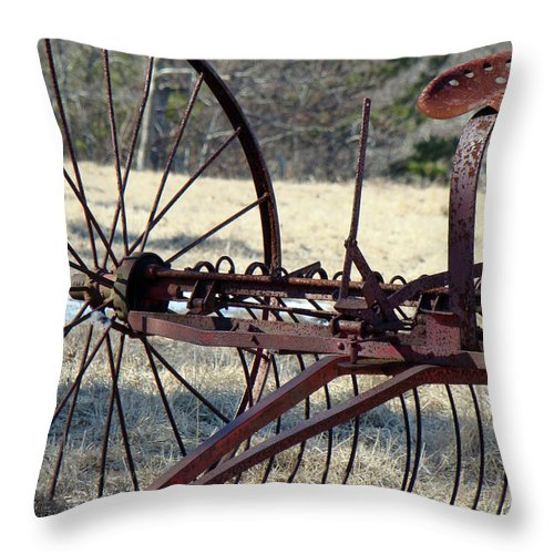 Farm Throw Pillow featuring the photograph Retired Hay Rake by Mother Nature