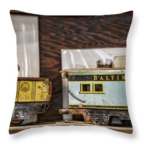 Train Throw Pillow featuring the photograph Retired Trains by Heather Applegate