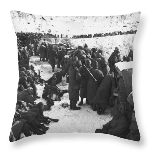 1940's Throw Pillow featuring the photograph Retreat From Chosin Reservoir by Underwood Archives