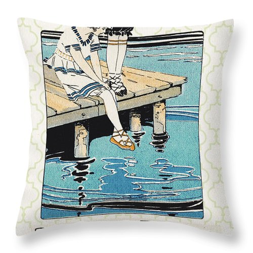 Jean Plout Throw Pillow featuring the digital art Retro Bathing Apparel Sign by Jean Plout