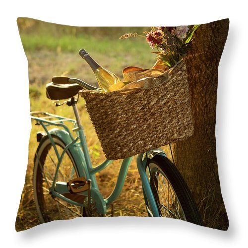 Grass Throw Pillow featuring the photograph Retro Bicycle With Wine In Picnic by Nightanddayimages