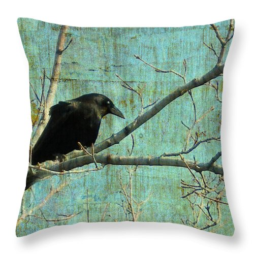 Vintage Blue Throw Pillow featuring the digital art Retro Blue - Crow by Gothicrow Images
