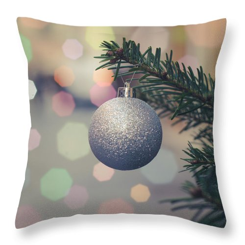 Ball Throw Pillow featuring the photograph Retro Christmas Tree Decoration by Mr Doomits