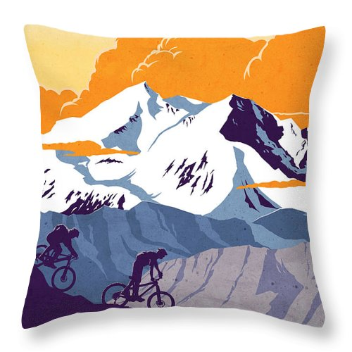 retro Cycling Poster Throw Pillow featuring the painting retro cycling poster Live to Ride Ride to Live by Sassan Filsoof