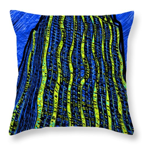 Empire Throw Pillow featuring the digital art Retro Empire State Building by David G Paul