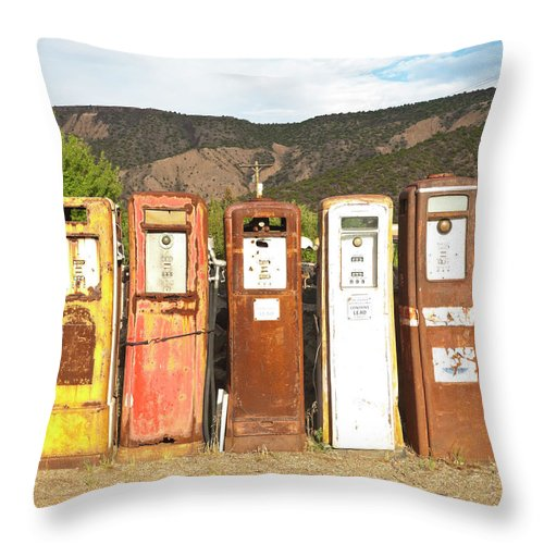 Home Decor Throw Pillow featuring the photograph Retro Gas Pumps In Outdoor Museum Nm by Helovi