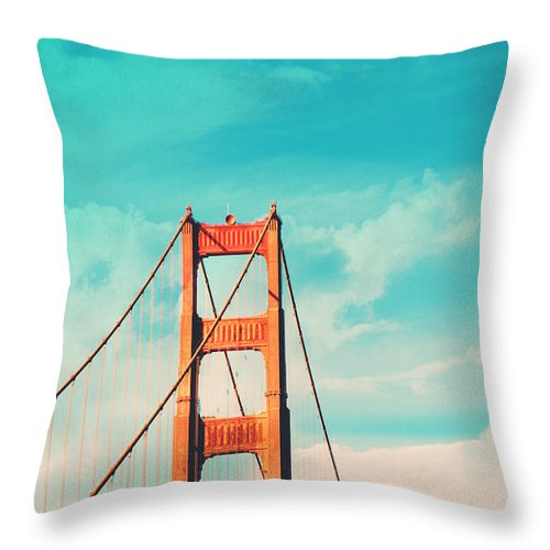 San Francisco Throw Pillow featuring the photograph Retro Golden Gate - San Francisco by Melanie Alexandra Price