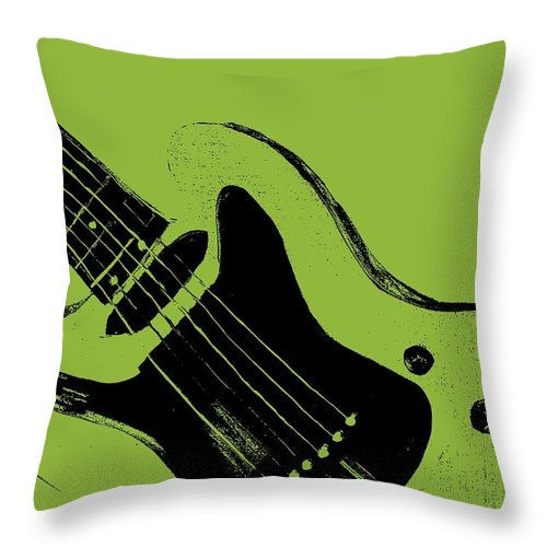 Retro Throw Pillow featuring the painting Retro Guitar by Mark Moore