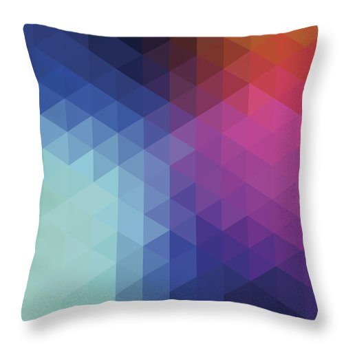 Triangle Shape Throw Pillow featuring the digital art Retro Hexagon Abstract Background by Mustafahacalaki