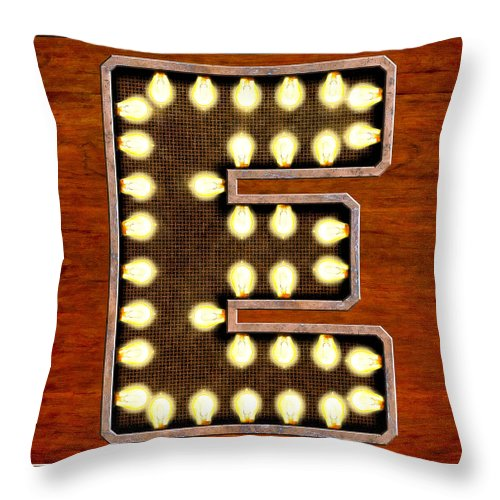 Letter Throw Pillow featuring the digital art Retro Marquee Lighted Letter E by Mark Tisdale