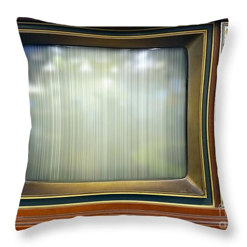 Vintage Throw Pillow featuring the photograph Retro Style Television Set With Bad Picture by Yali Shi