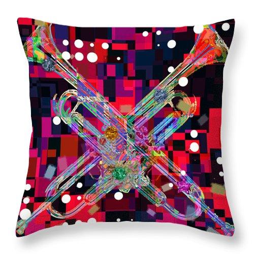 Retro Throw Pillow featuring the digital art Retro Trumpets by David G Paul