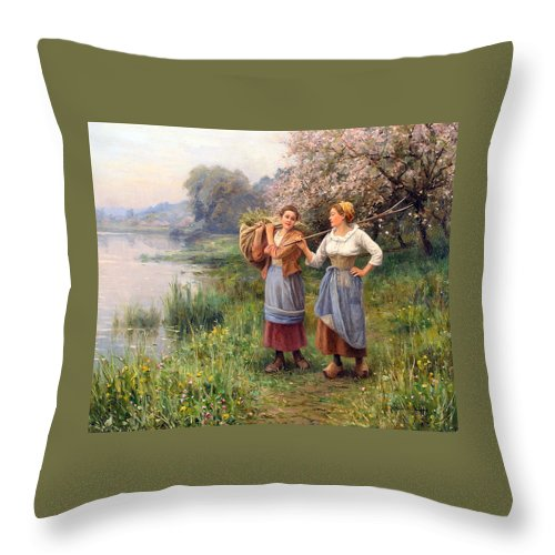 Paul J Blondeau Throw Pillow featuring the digital art Returning From The Field by Paul J Blondeau